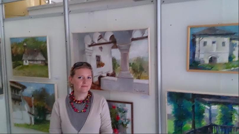 Artista basarabeană Inga Edu, la expoziția de la Vâlcea